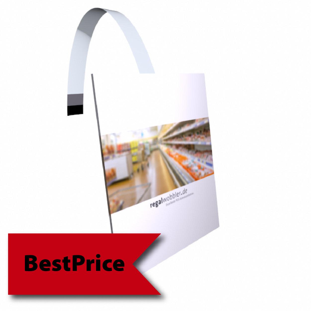 Regalwobbler individuelle Größe rechteckig oder quadratisch bis von 55 x 85 mm bis 99 x 100 mm - BestPrice-Modell