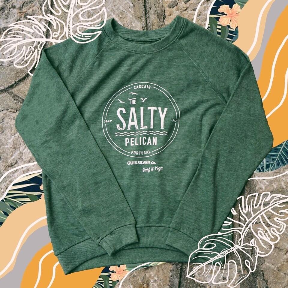 SALTY PELICAN SIGNATURE FERN GREEN SWEATER: Womens