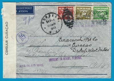 NEDERLAND lp brief 22-IX-1941 Leeuwarden -USA door naar Curaçao