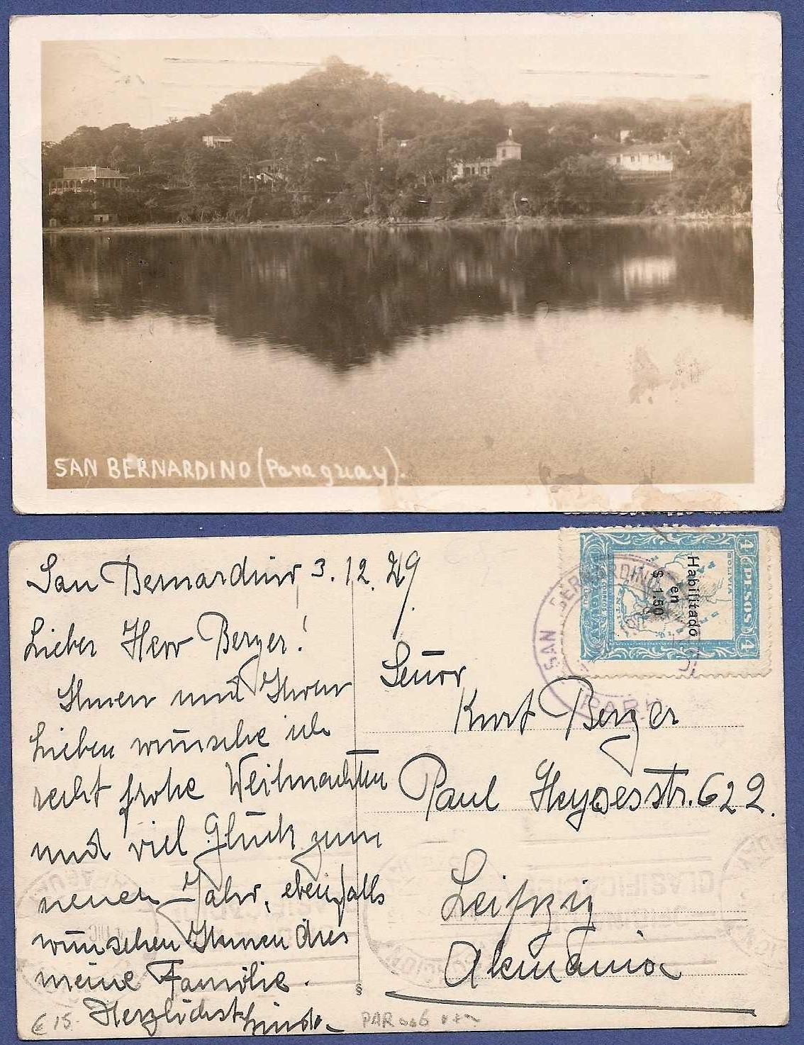 PARAGUAY photocard 1929 San Bernardino to Germany