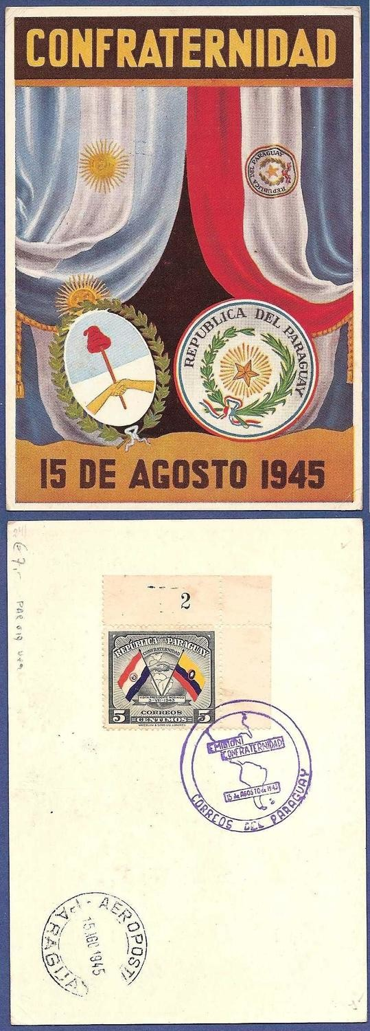 PARAGUAY card 1945 friendship with Argentina