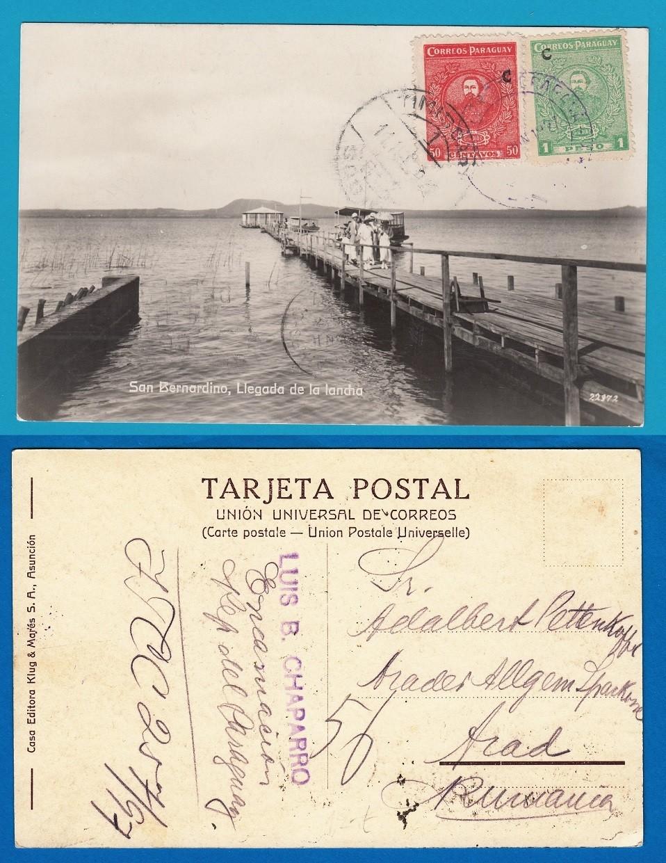 PARAGUAY PPC 1927 San Bernardino to Roumania