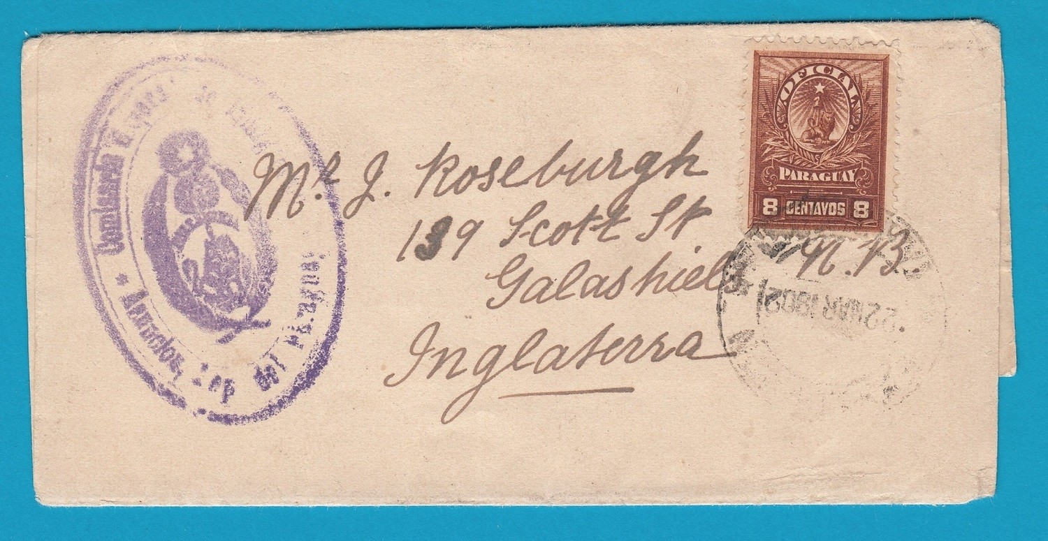 PARAGUAY official wrapper 1902 Asuncion to England