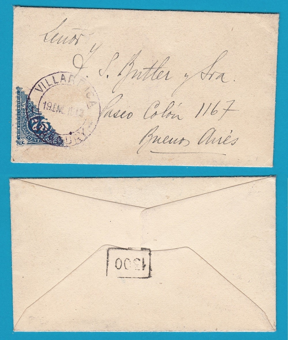 PARAGUAY printed matter 1913 (?) Villarrica with bisect to BA