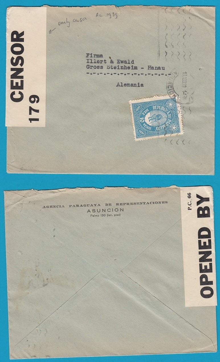 PARAGUAY cover 1939 Asuncion with early censor to Germany