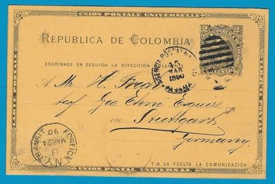 COLOMBIA postal card 1890 Panama to Germany