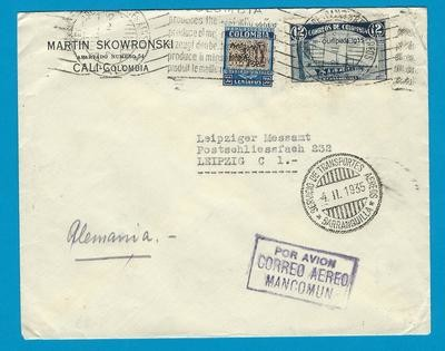 COLOMBIA airmail cover 1935 Cali to Germany