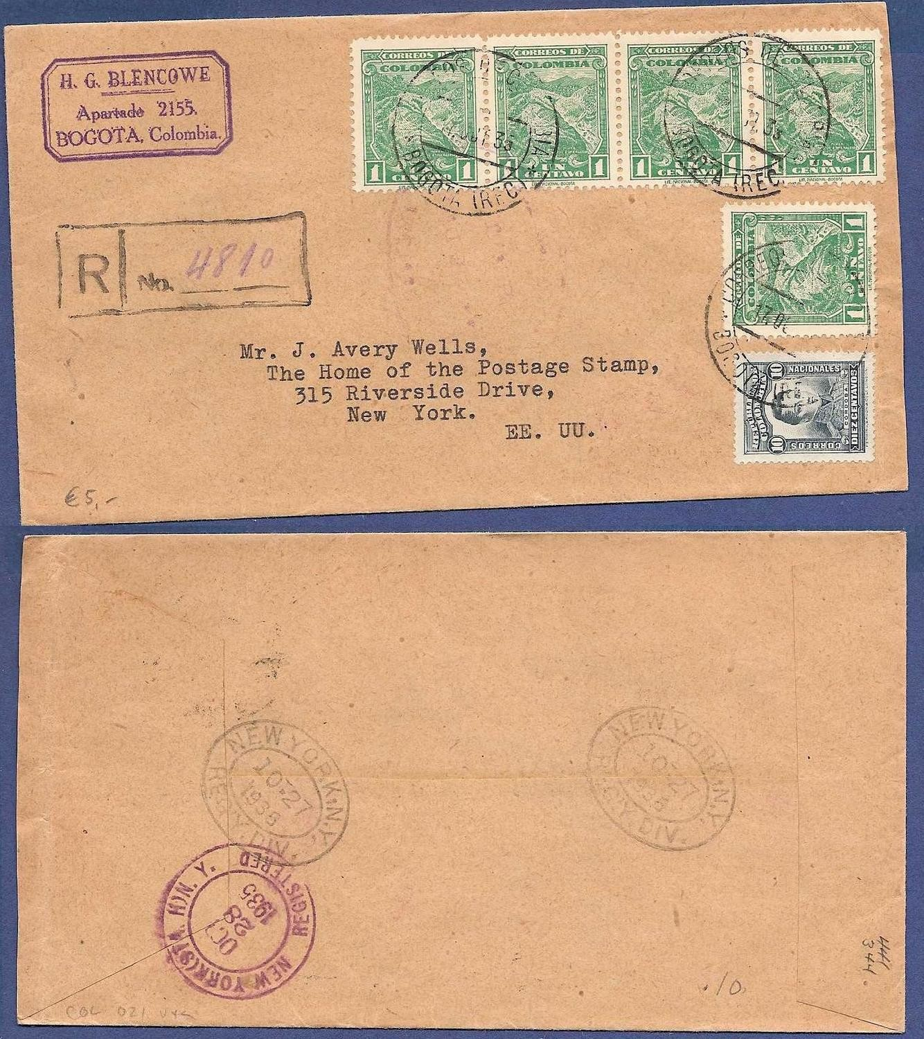 COLOMBIA R cover 1935 Bogota to USA