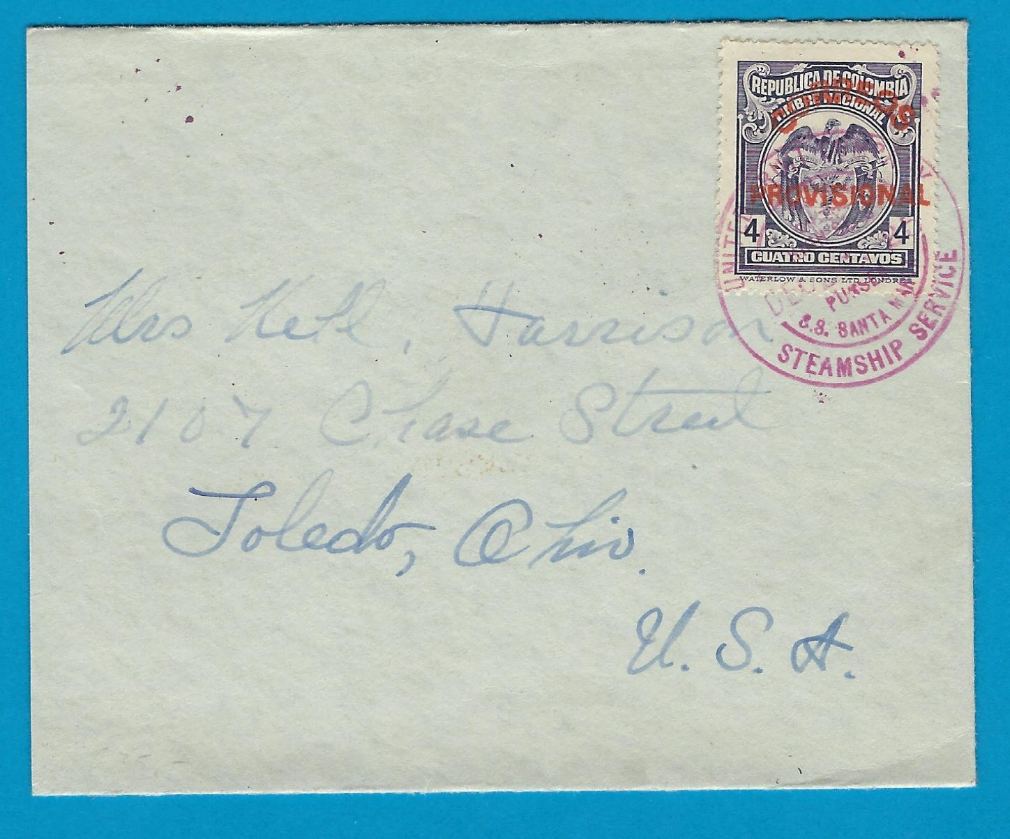 COLOMBIA cover 1925 S.S. Santa Maria United Fruit Cy