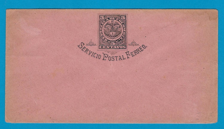 COLOMBIA postal envelope Servicio Postal Ferreo mint *
