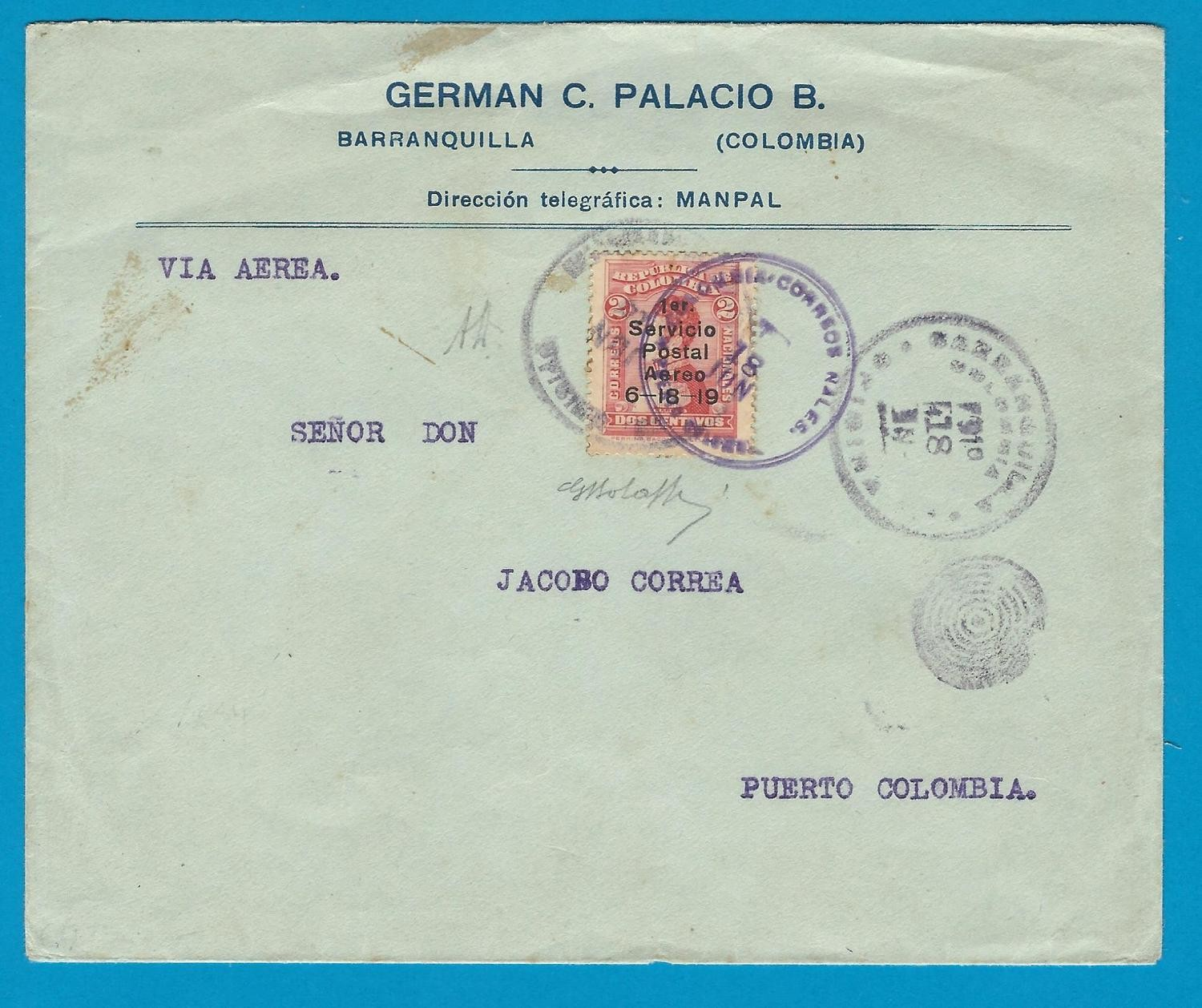 COLOMBIA airmail cover 1919 Barranquilla to Puerto Colombia
