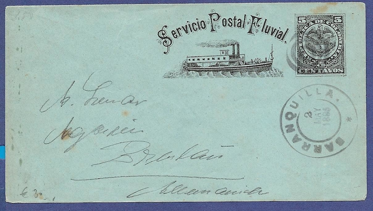 COLOMBIA postal envelope 1895 Barranquilla to Germany