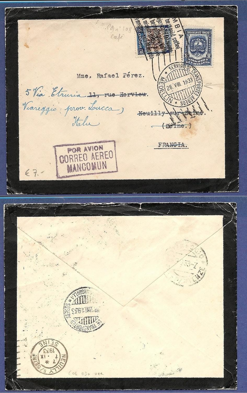 COLOMBIA mourning cover 1933 Medellin to France forwarded