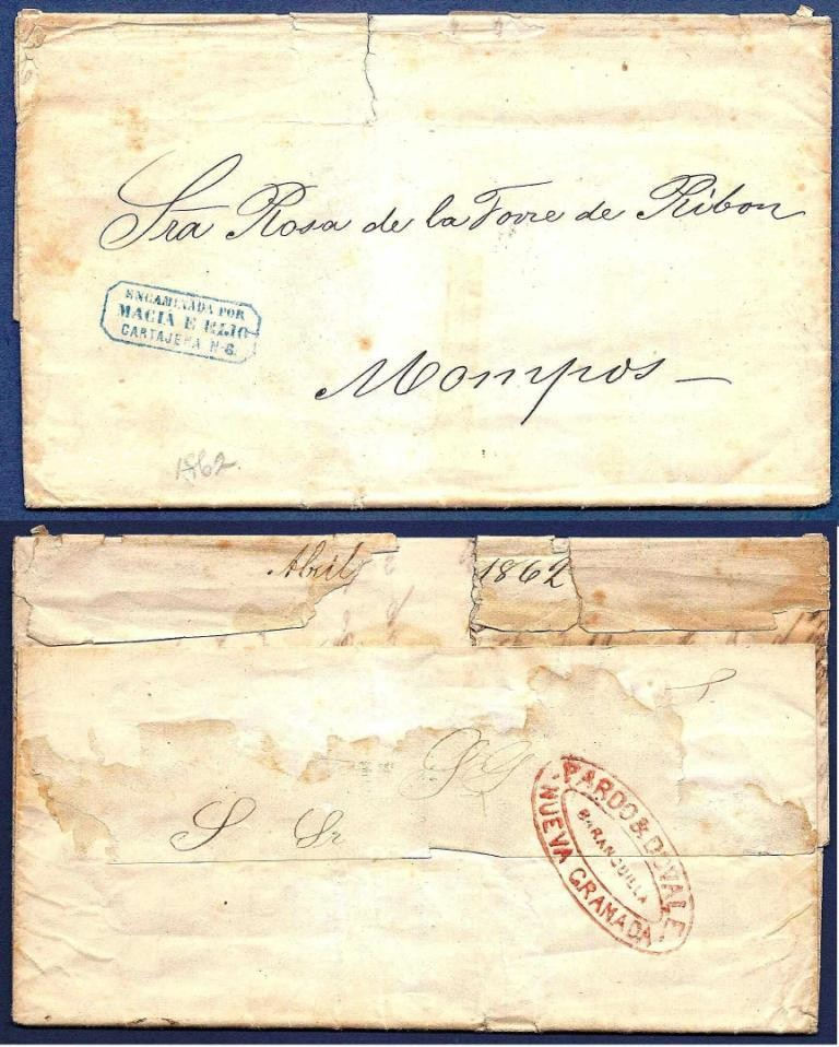 COLOMBIA forwarding letter 1862 New York to Mompos