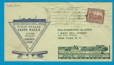 COLOMBIA Grace Line cover 1933 Barranquilla to USA