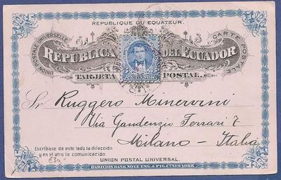 ECUADOR postal card 1895 Guayaquil to Italy