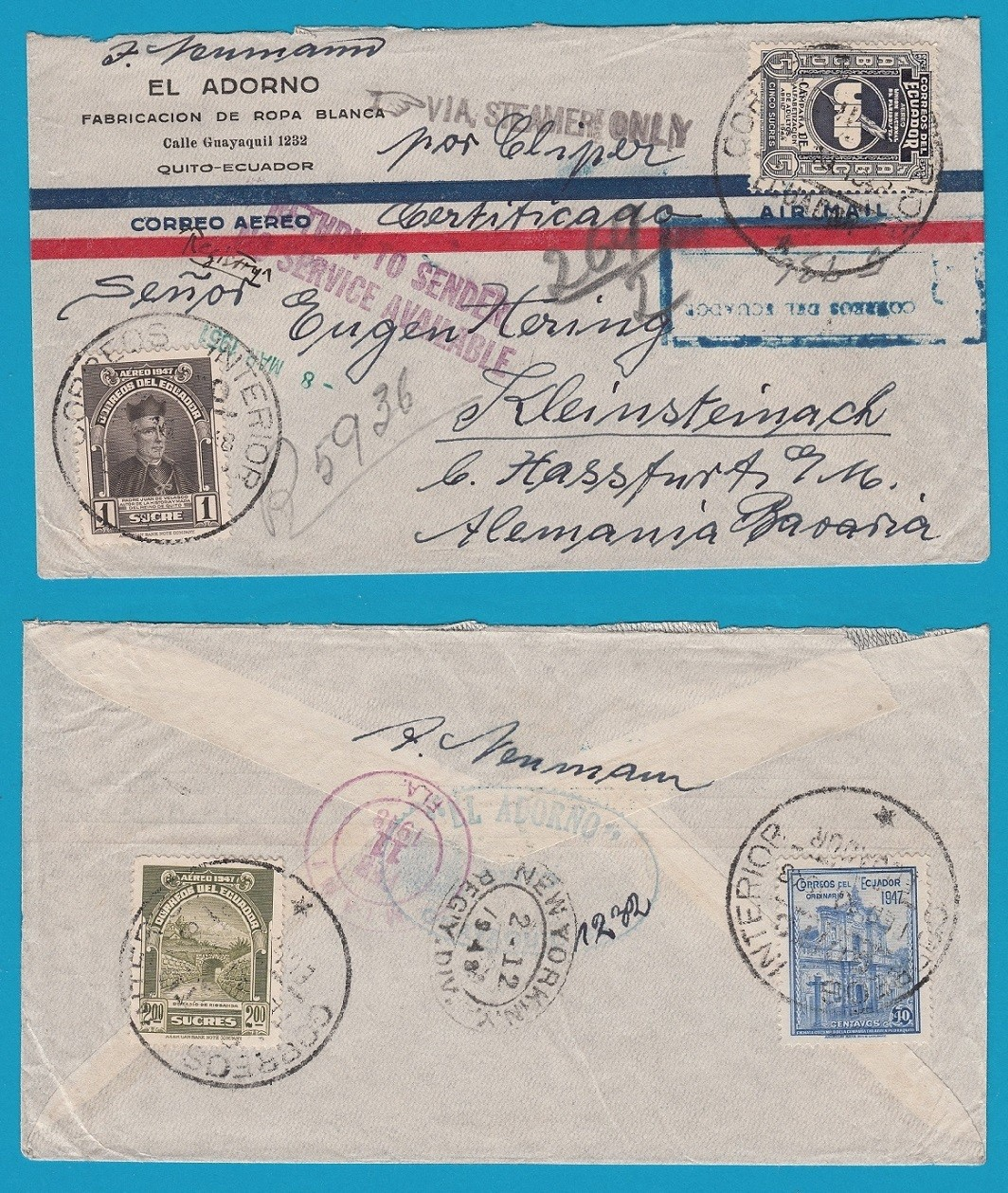 ECUADOR air cover 1948 Quito to Germany - Service suspended