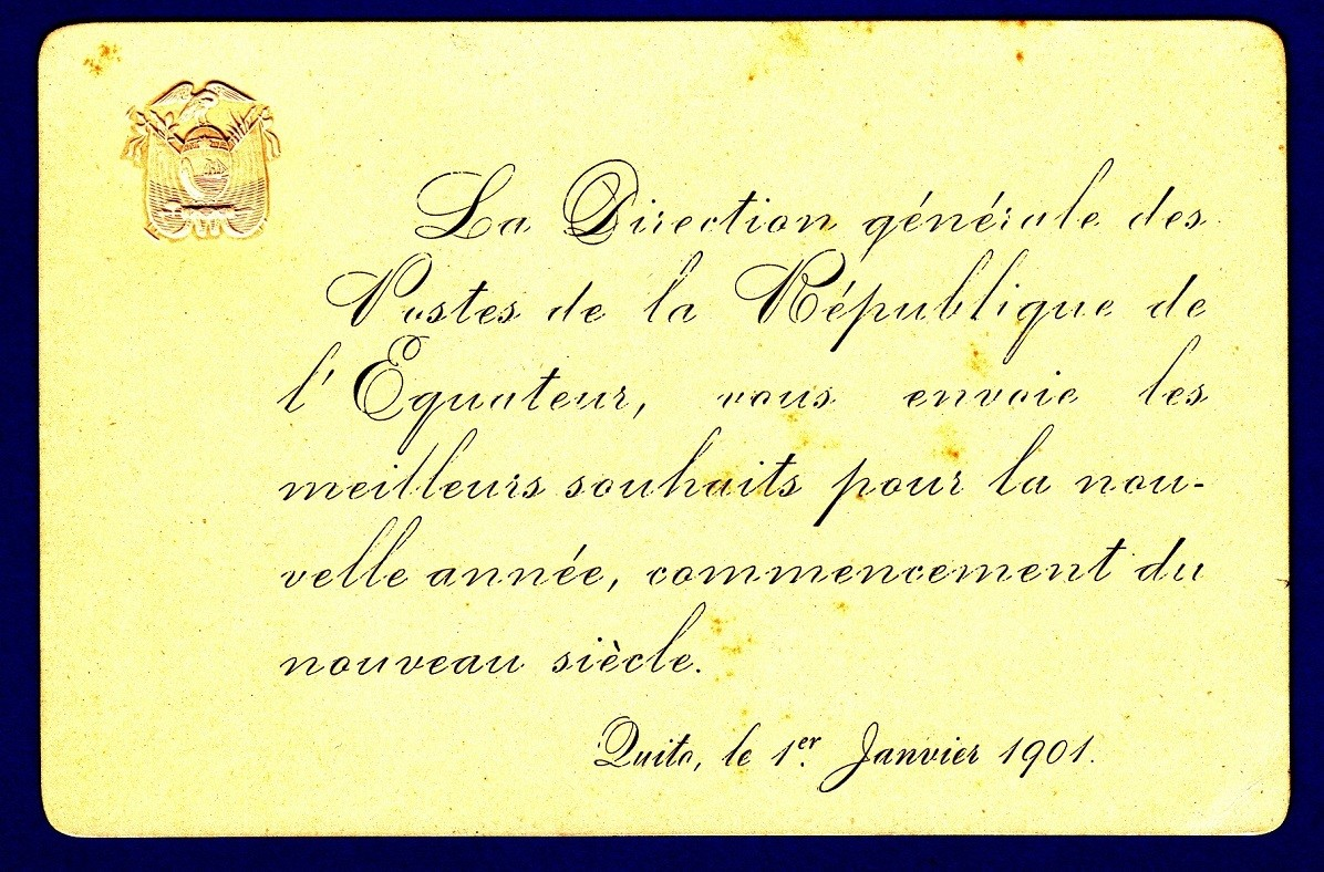 ECUADOR official New Year greeting card 1901 from the post