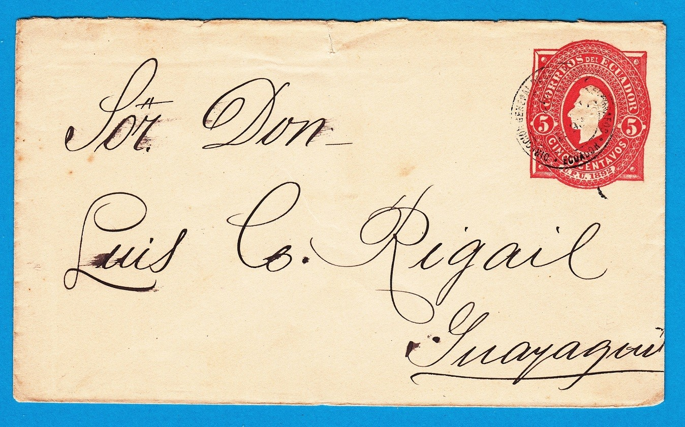ECUADOR envelope 1893 to Guayaquil