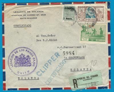 ECUADOR R cover 1953 Quito Consulate to Netherlands