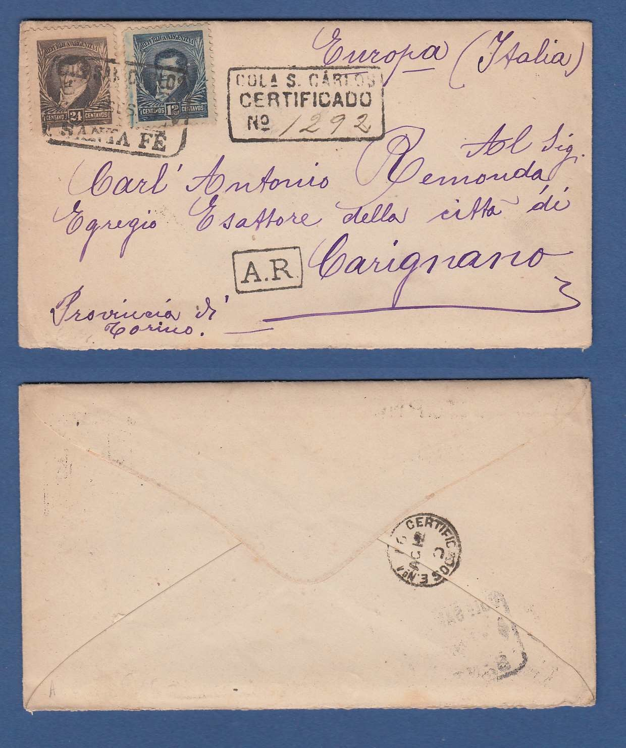 ARGENTINA AR cover 1894 Colonia Sn Carlos to Itlay