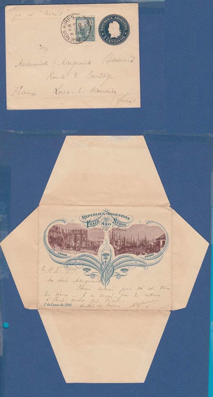 ARGENTINA letter sheet 1900 BA to France