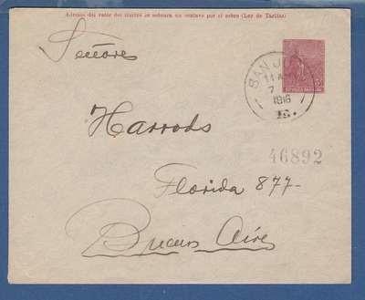 ARGENTINA envelope 1916 San Juan to BA