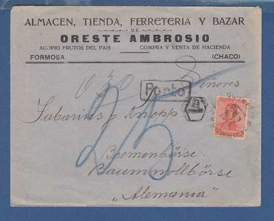 ARGENTINA cover 1919 Formosa with postage due to Germany