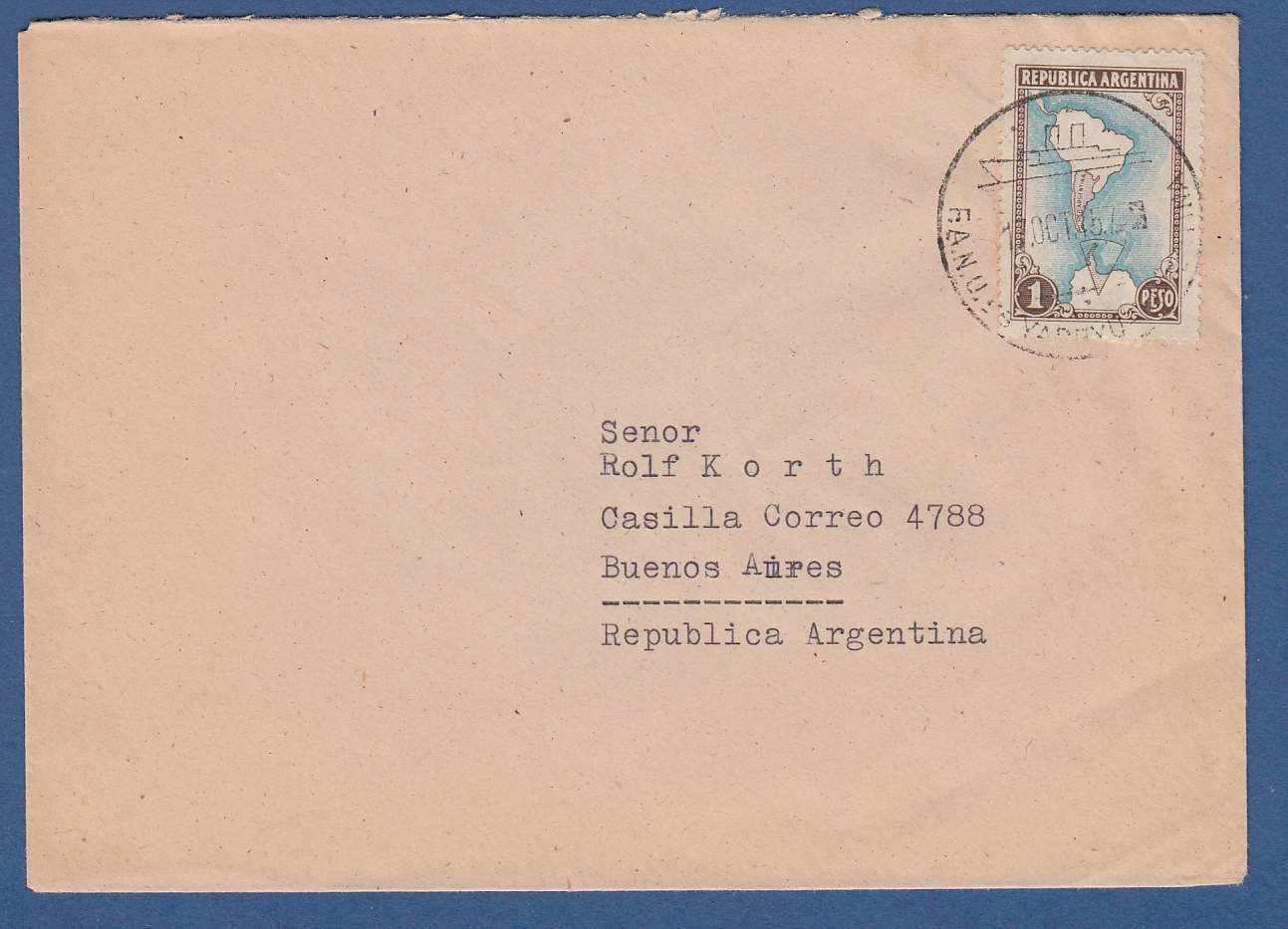 ARGENTINA cover 1957 with ship cancel