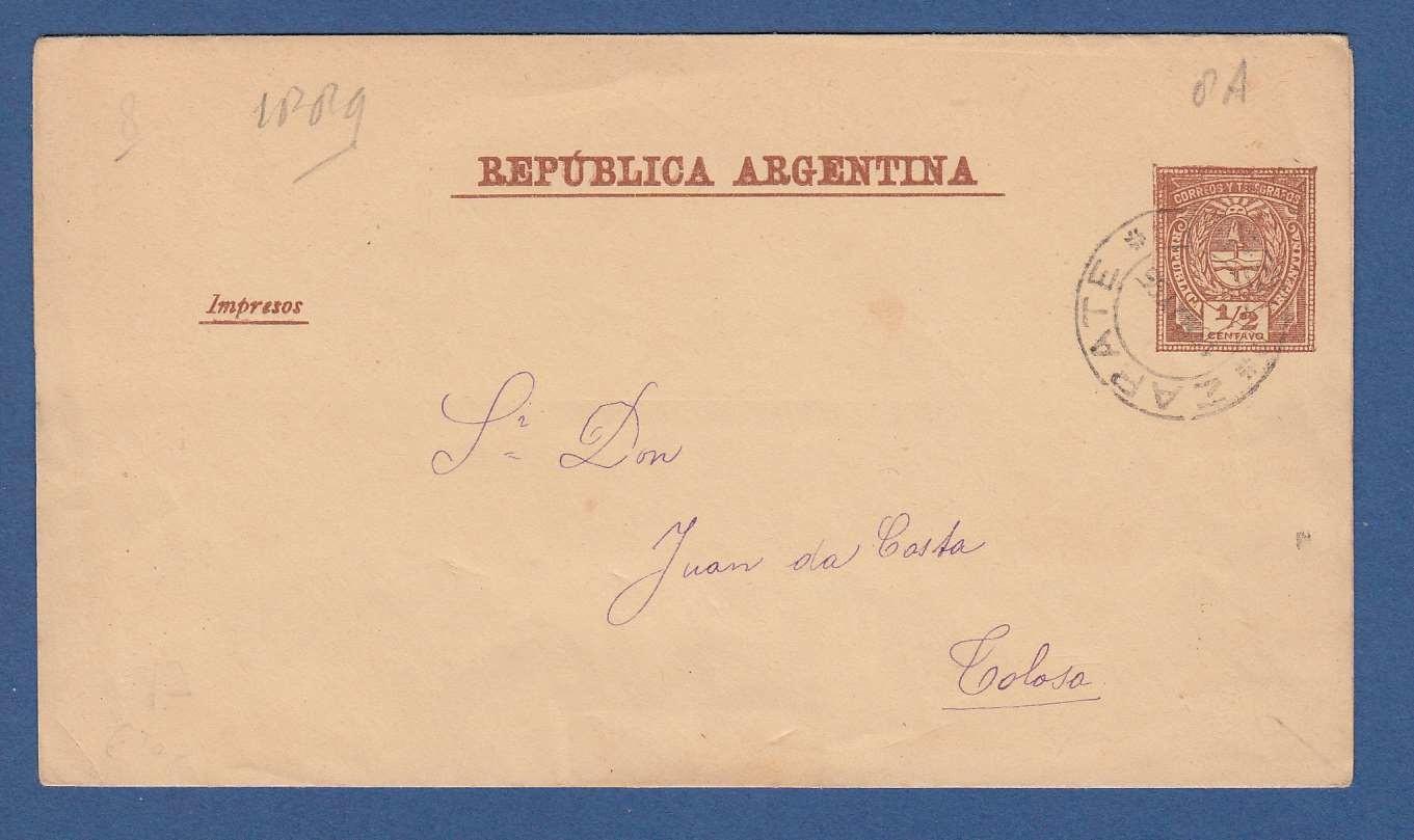 ARGENTINA wrapper 1889 Zapate to Colosa
