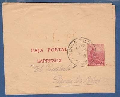 ARGENTINA wrapper 1912 Curuzu Cuatia to Paso de los Libres