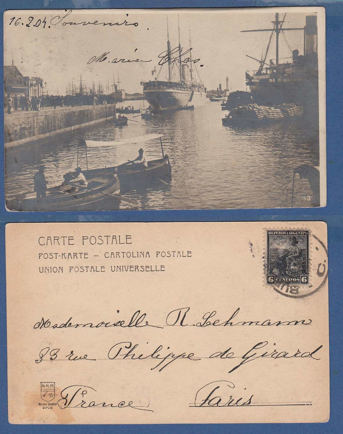 ARGENTINA photocard Harbor 1904 Buenos Aires to France