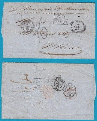 URUGUAY cover sheet 1862 Montevideo to France