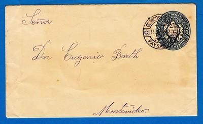 URUGUAY postal envelope 1902 Paysandu to Montevideo