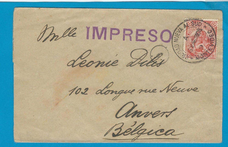 URUGUAY printed matter 1908 Ciudad Nuevo Al Sud to Belgium