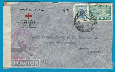 URUGUAY censored Red Cross air cover 1942 Montevideo to Switzerland