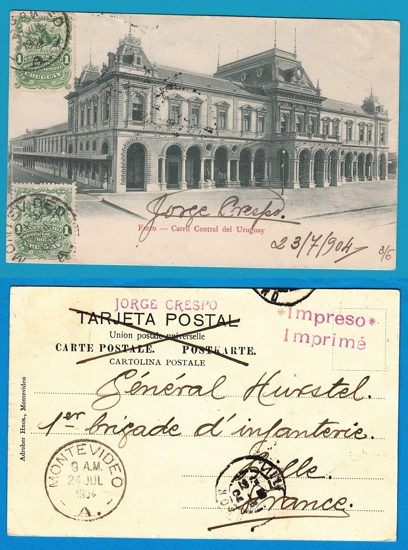 URUGUAY PPC 1904 Montevideo to France