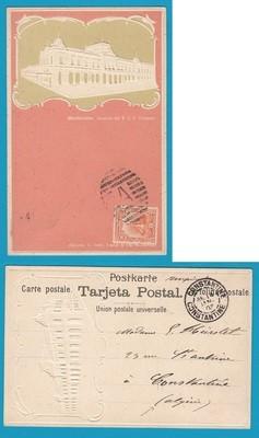 URUGUAY embossed PPC 1903 Montevideo to Algeria