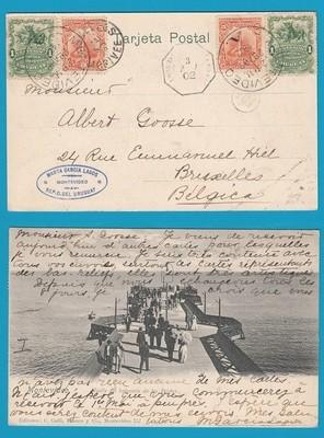 URUGUAY PPC 1902 Montevideo to Belgium