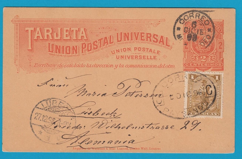 URUGUAY postal card 1896 Paysandu to Germany