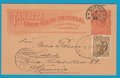 URUGUAY postal card 1896 Paysandu to Germany