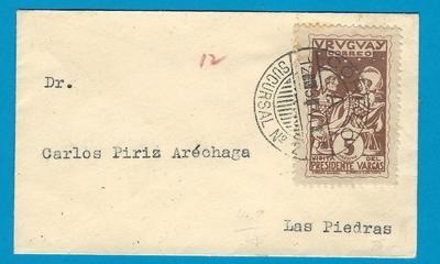 URUGUAY small cover 1935 Sucursal no 2 to Las Piedras