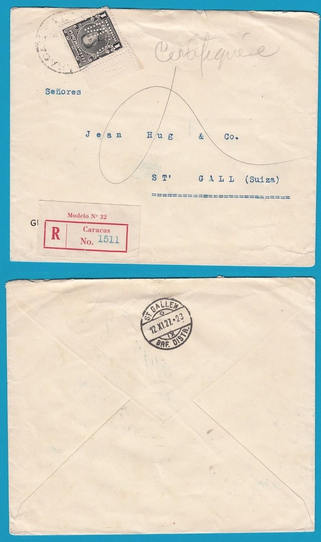 VENEZUELA R cover 1927 Caracas with perfin to Switzerland