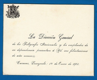 VENEZUELA new years greeting card 1901 from the post