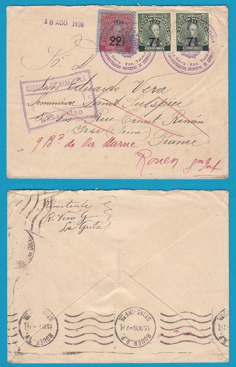 VENEZUELA R cover 1936 Maracaibo to France