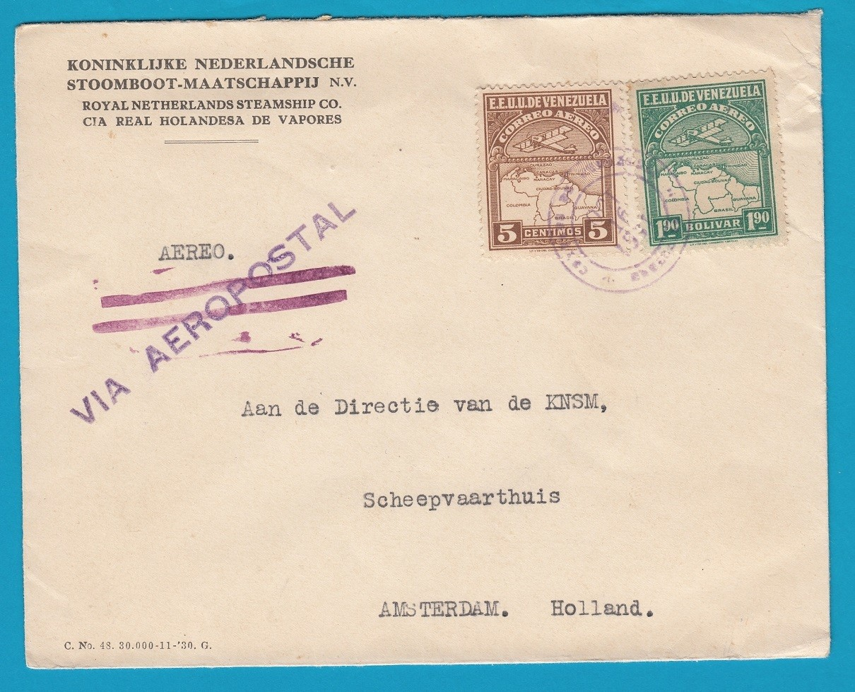 VENEZUELA KNSM air cover 1931 Maracaibo to Netherlands