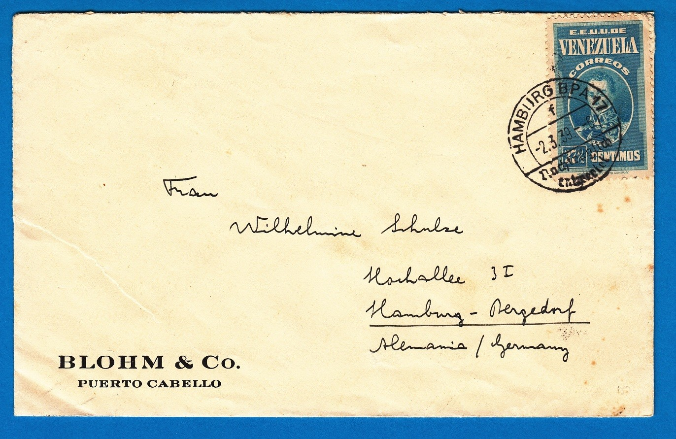 VENEZUELA cover 1939 Puerto Cabello cancelled on arrival Hamburg
