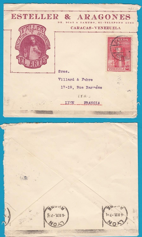 VENEZUELA cover 1931 Caracas to France