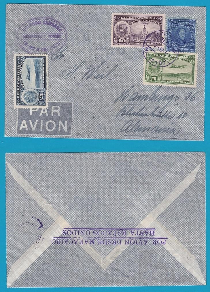 VENEZUELA air cover 1938 Maracaibo with route marking