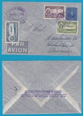 VENEZUELA air cover 1938 Maracaibo with route marking